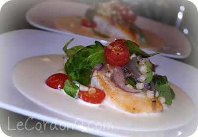 Pan Seared Halibut with Sweet Corn Zabaglione