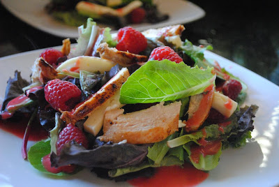Brie, Raspberry, and Chicken Salad with Fresh Raspberry Vinaigrette
