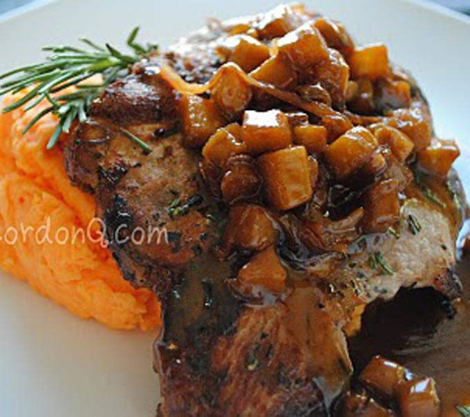 Balsamic Caramel Apple Pork Chops with Sweet Potato Mash