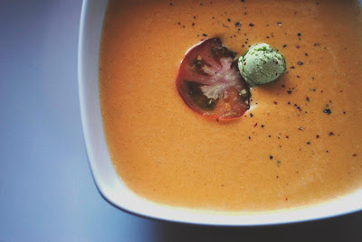 Heirloom Tomato Bisque with Basil Butter