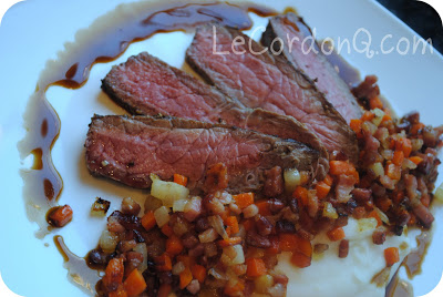Seared Flank Steak with Pear Puree and Pancetta Hash