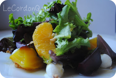 Baby greens with Beets, Chevre, Oranges, Hazelnuts, and Fresh Orange Vinaigrette