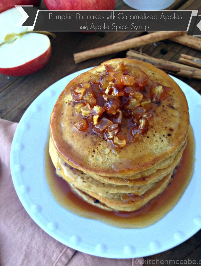 Pumpkin Pancakes with Caramelized Apples and Apple Spice Syrup