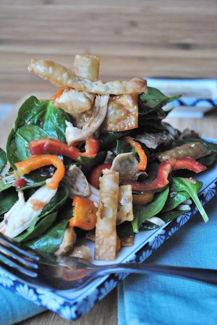 Chicken Wonton Spinach Salad - The Kitchen McCabe
