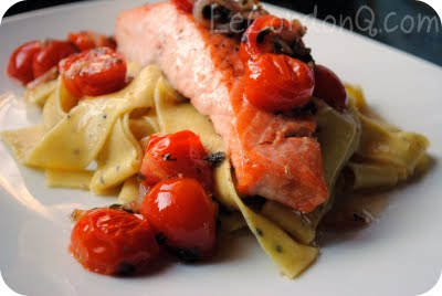 Pan-Seared Salmon with Warm Cherry Tomato Vinagrette & Lemon Pepper Papardelle
