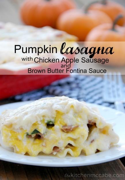 Pumpkin Lasagna Rolls with Chicken Apple Sausage and Brown Butter Fontina Sauce
