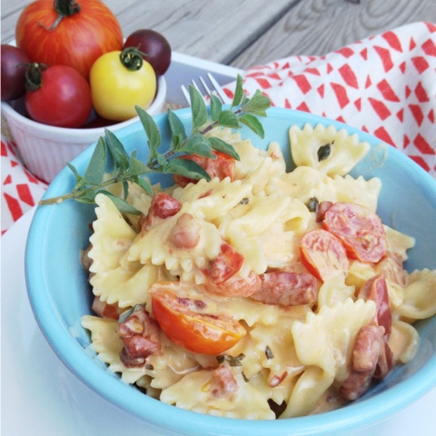 Farfalle with Crispy Pancetta, Heirloom Tomatoes in a White Wine GarlicCream