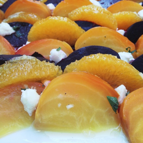 Gold & Red Beet Salad with Orange, Chèvre, Mint, & Fresh Orange Vinaigrette
