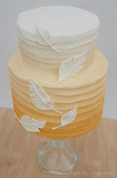 gold ombre feather cake 3