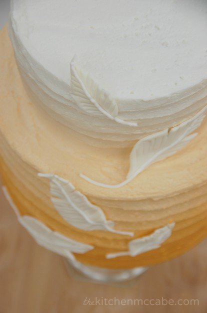 gold ombre feather cake 5