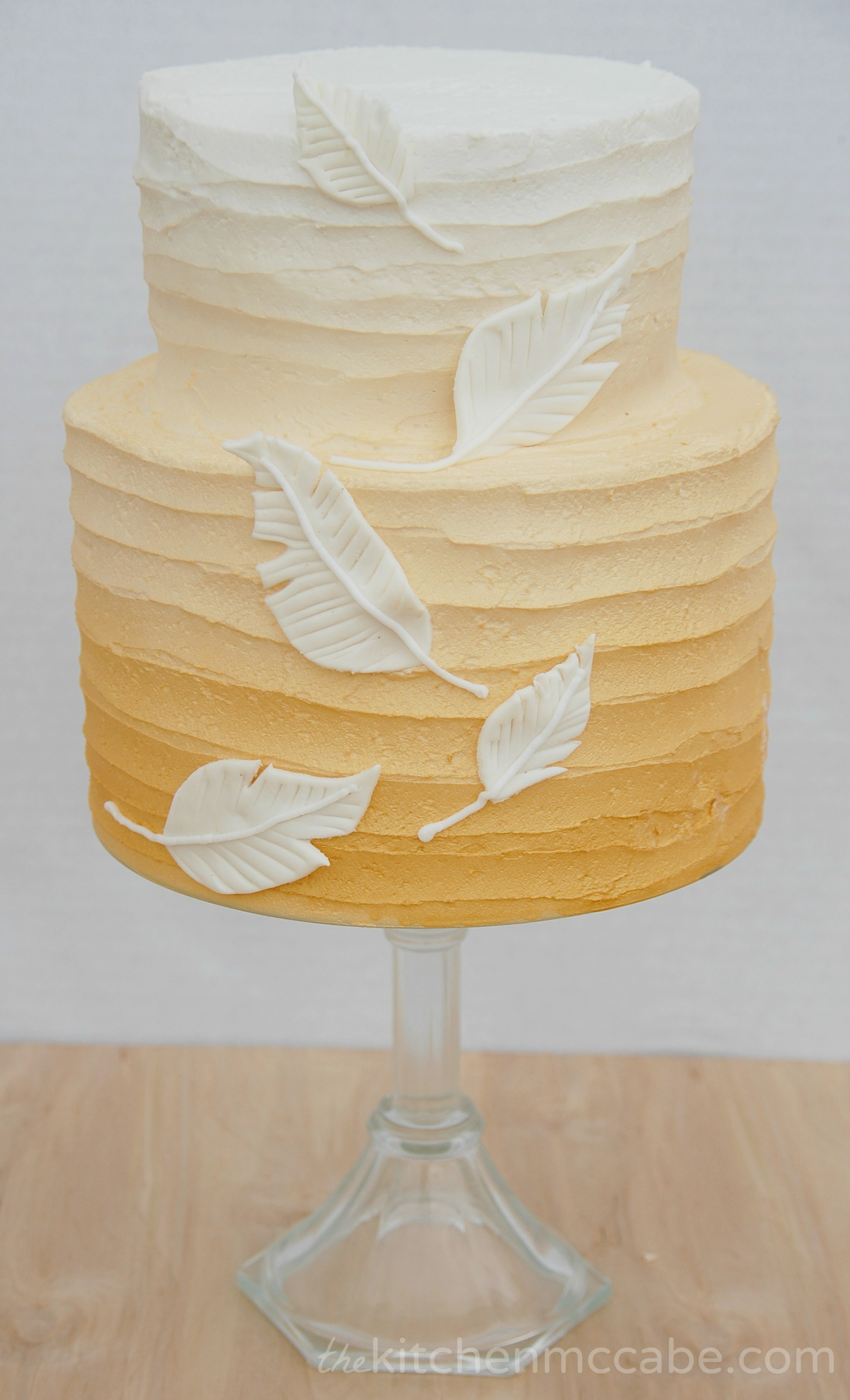 Gold Ombre Feather Birthday Cake