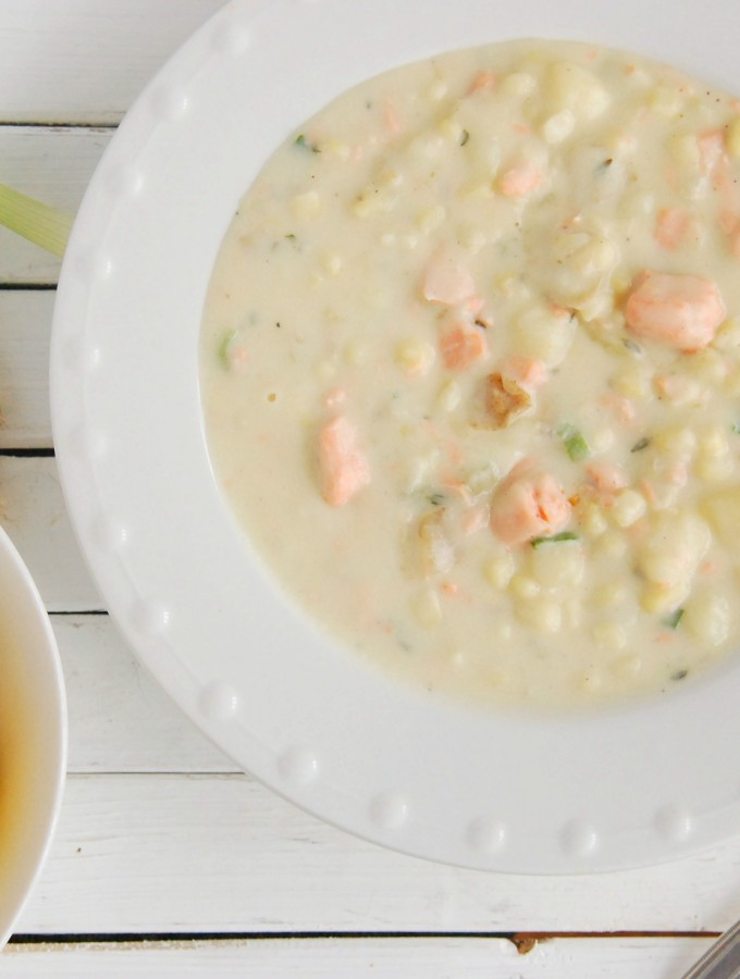 Salmon Corn Chowder with Lemon & Thyme