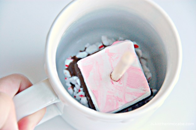 Peppermint marshmallow hot chocolate on a stick 3