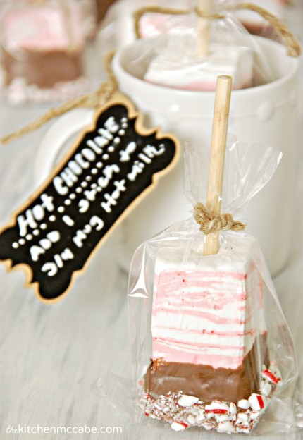 Peppermint marshmallow hot chocolate on a stick