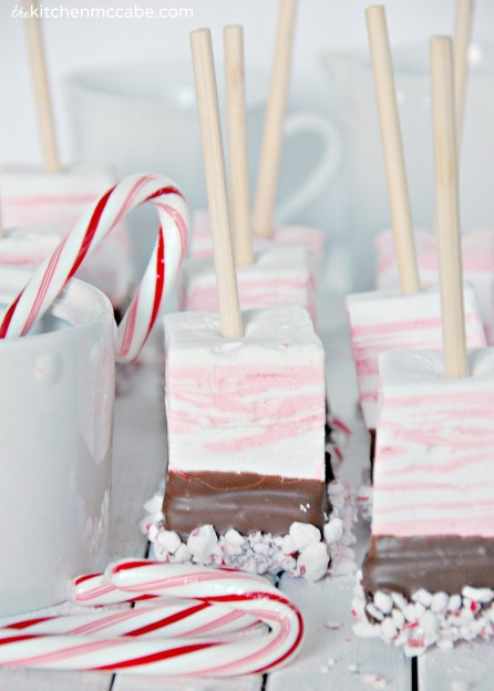 Peppermint marshmallow hot chocolate on a stick 8