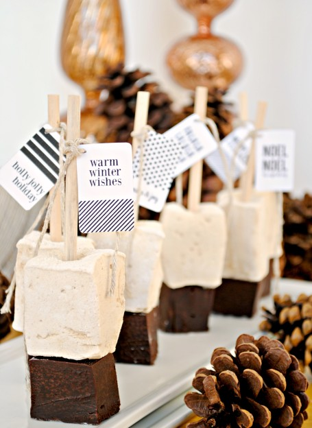 gingerbread marshmallow hot chocolate sticks with