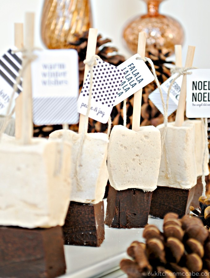 Gingerbread Marshmallow Hot Chocolate Sticks with Printable Tags!