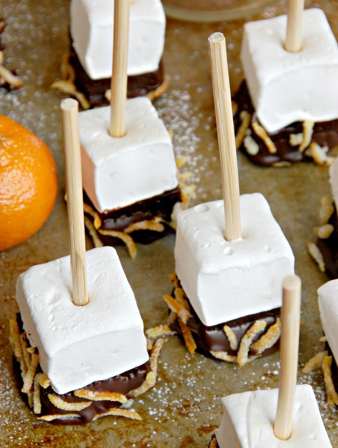 Orange-Scented Marshmallow Dark Hot Chocolate Sticks