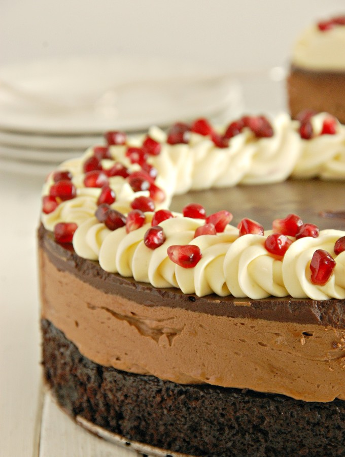 Pomegranate Studded Triple Chocolate Mousse Cake