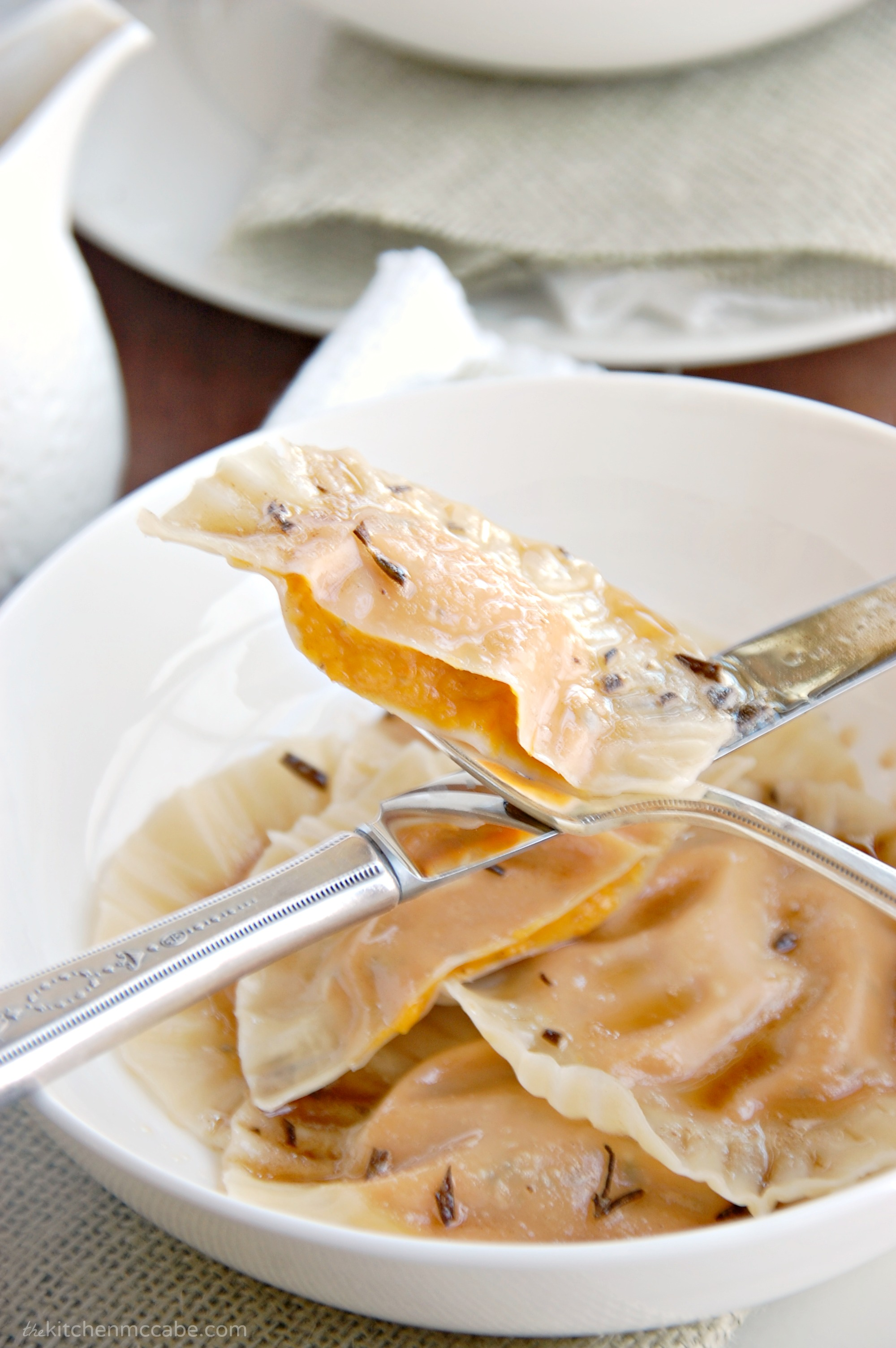 butternut squash ravioli with rosemary browned butter the