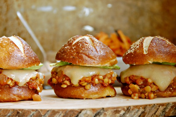 vegetarian sloppy joes on pretzel buns 2 resize