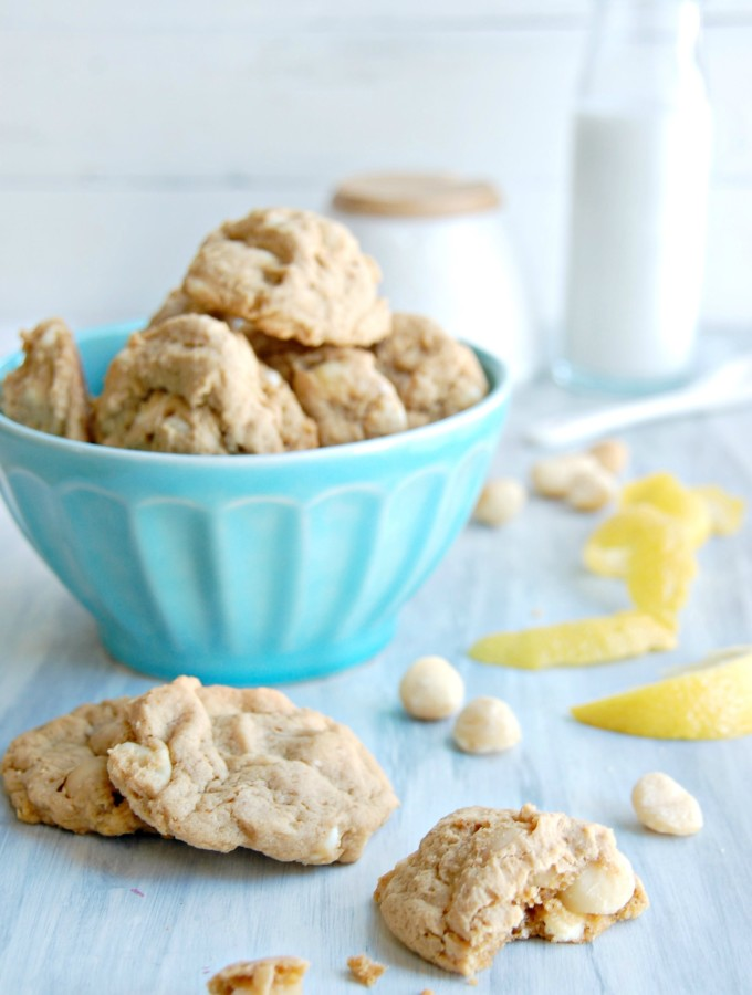 {Just Slightly} Healthier White Chocolate Chip Macadamia Lemon Cookies