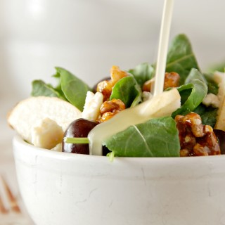 baby kale salad with gorgonzola, black grapes, asian pear, candied walnuts and honey vinaigrette 3