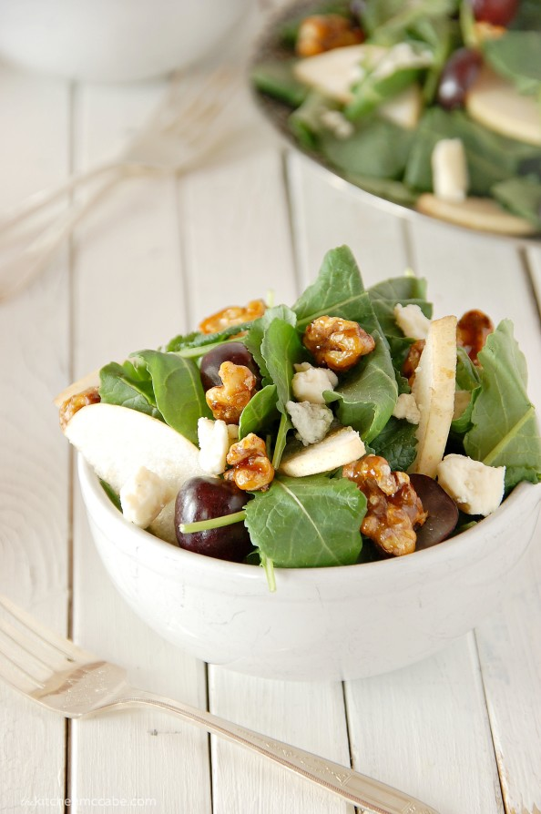 baby kale salad with gorgonzola, black grapes, asian pear, candied walnuts and honey vinaigrette 5