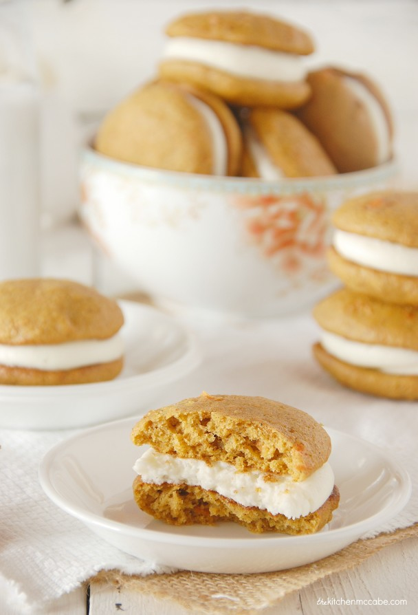 carrot cake whoopie pie with almond cream cheese frosting 1
