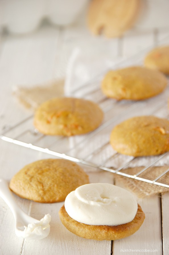 carrot cake whoopie pie with almond cream cheese frosting 2