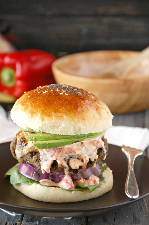 Black bean burgers with roasted red pepper aioli 1