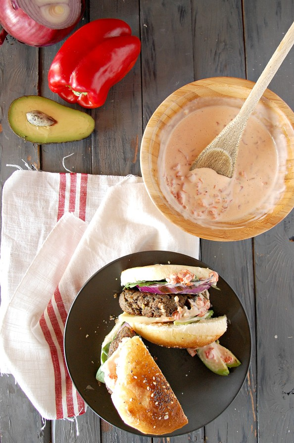 Black bean burgers with roasted red pepper aioli 2