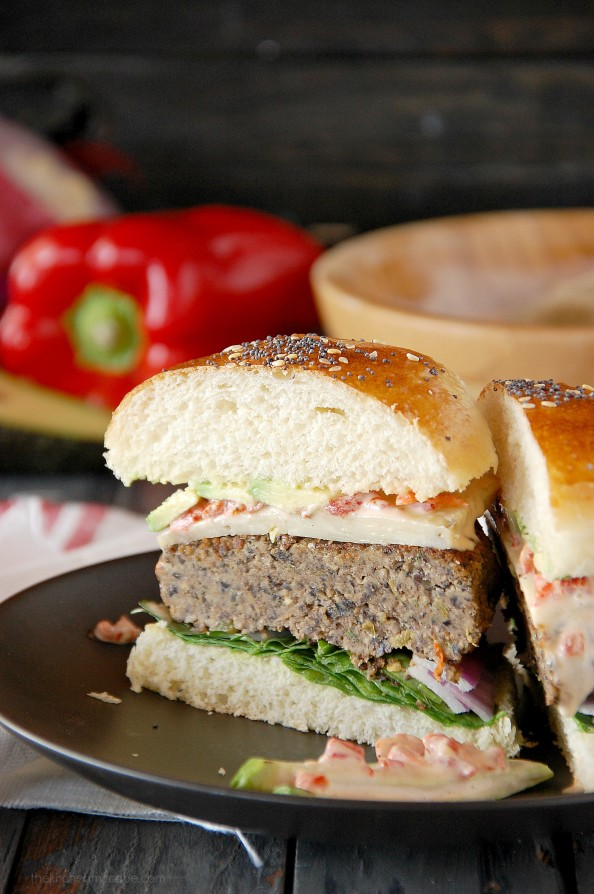Black bean burgers with roasted red pepper aioli 5