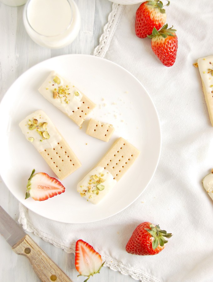 White Chocolate Pistachio Shortbreads