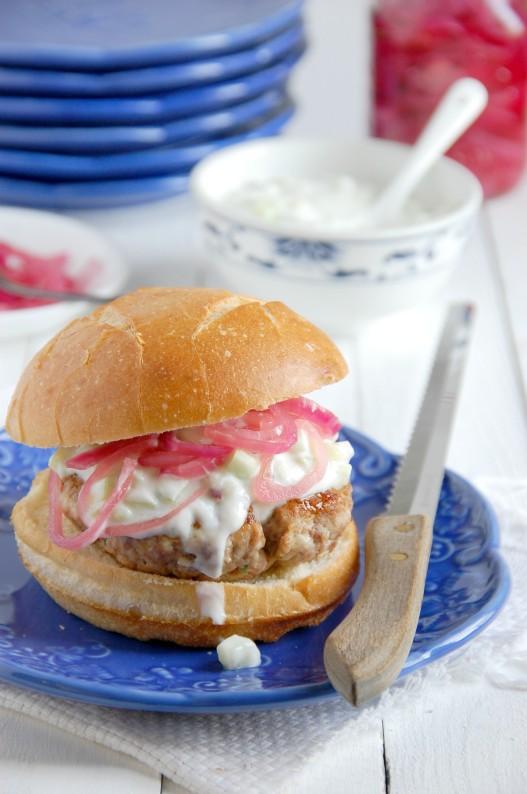 Lamb Turkey Burgers with Cucumber Yogurt Sauce | thekitchenmccabe.com