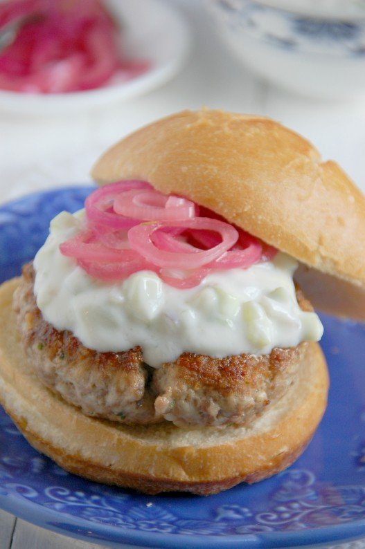 Lamb Turkey Burgers with Cucumber Yogurt Sauce | thekitchenmccabe.com
