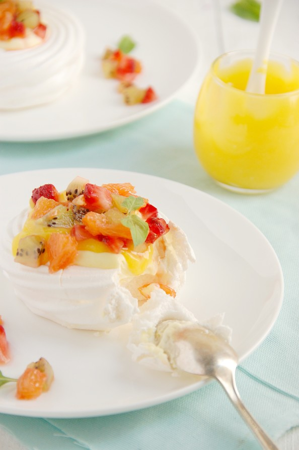 meringue nests with lemon mousse curd and fruit salsa 3