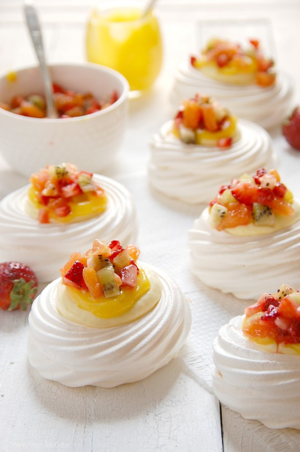 Meringue Nests with Lemon Curd Mousse and Fruit Salsa | thekitchenmccabe.com