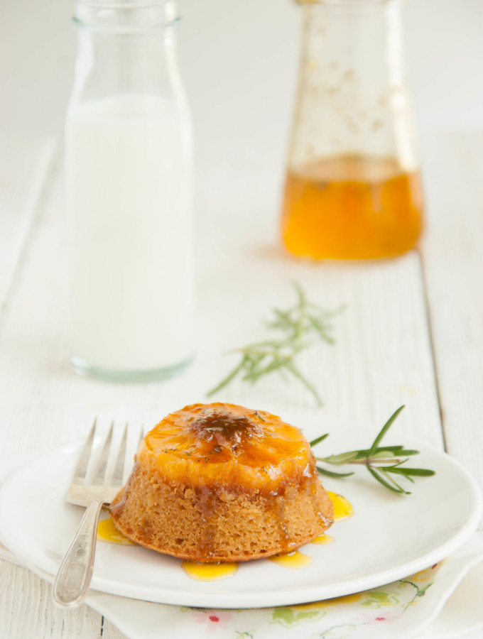 Butterscotch Clementine Upside-Down Cakes with Rosemary Orange Syrup