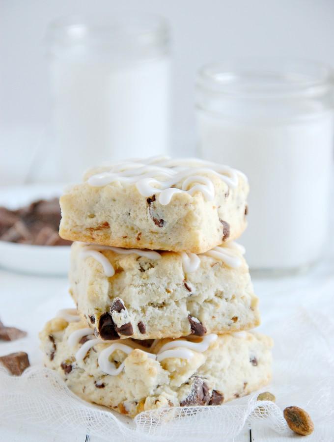 Dark Chocolate Chunk & Pistachio Scones {Gluten-Free}