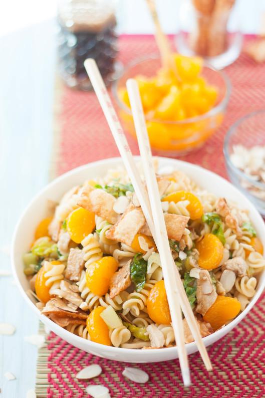 Asian Sesame Chicken Wonton Pasta Salad - The Kitchen McCabe