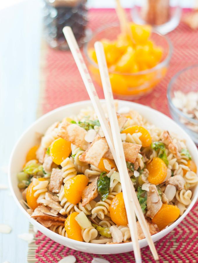 Asian Sesame Chicken Wonton Pasta Salad