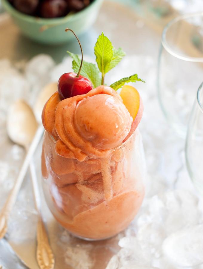 Cherry Nectarine Mint Sorbet