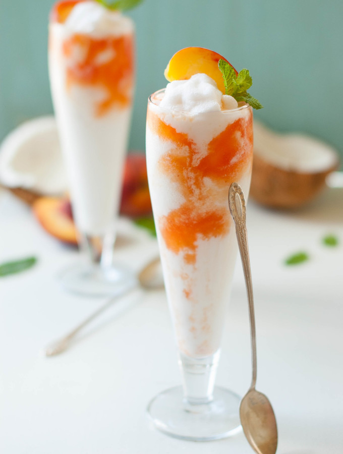 Coconut Peach Lemonade Slushies
