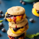 Gingersnap Blueberry Mango Ice Cream Sandwiches