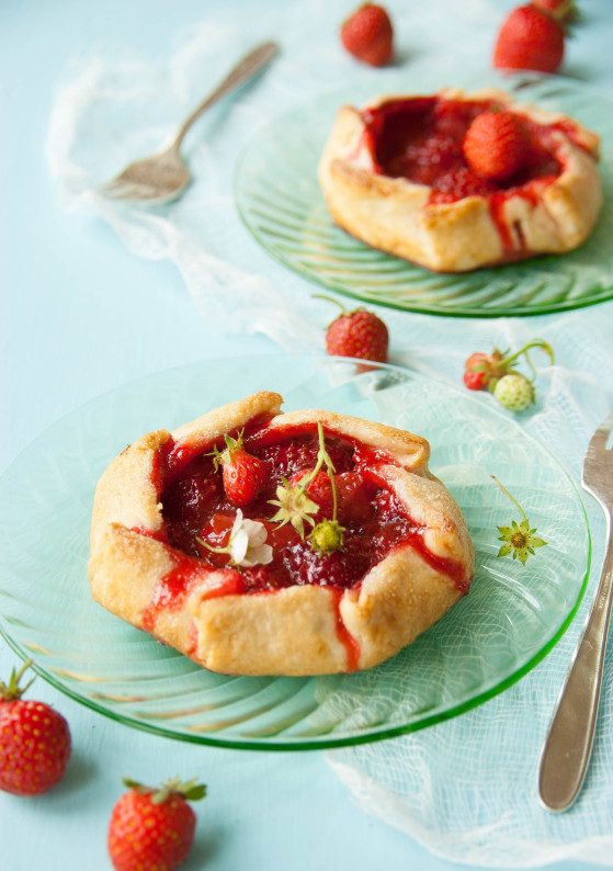 Strawberry Rhubarb Galettes with Homemade Vanilla Ice Cream | thekitchenmccabe.com