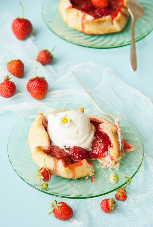 Strawberry Rhubarb Galettes with Homemade Vanilla Ice Cream | thekitchenmccabe.com