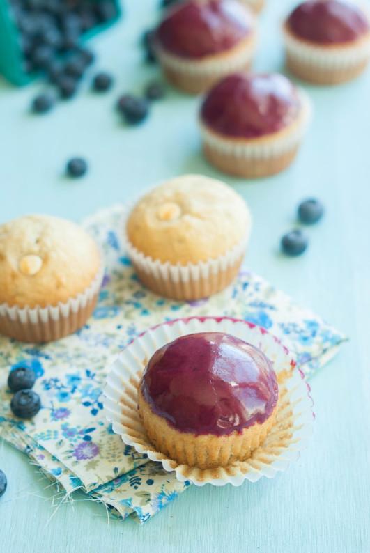Banana Bread White Chocolate Chip Blueberry Glazed Muffins | thekitchenmccabe.com