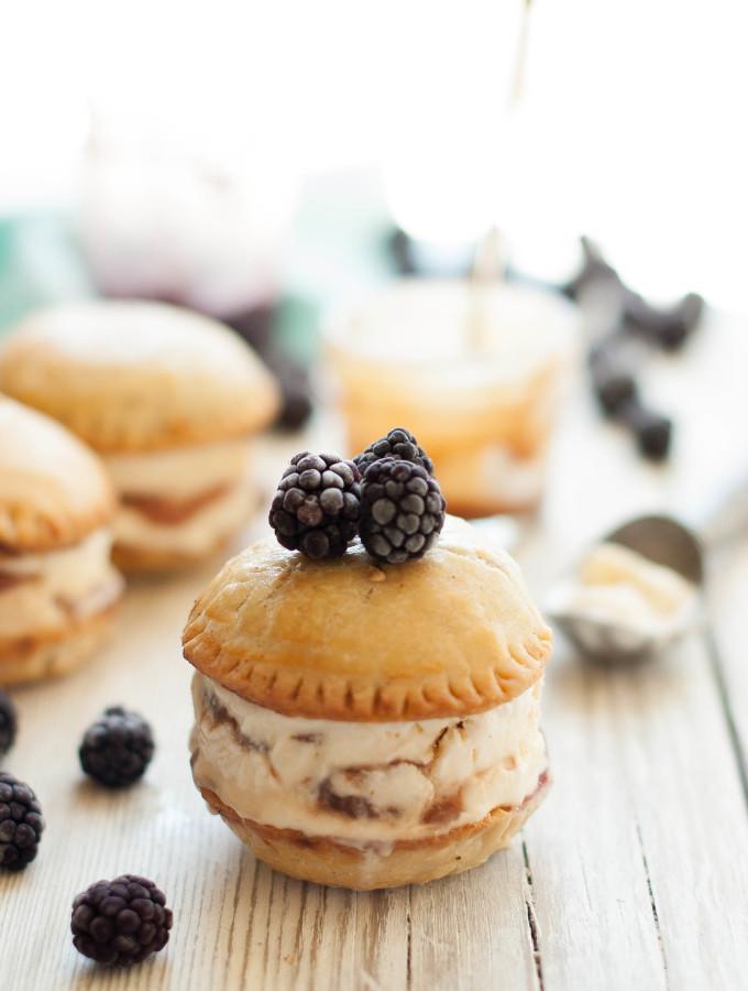 Blackberry Mascarpone Salted Caramel Pie Ice Cream Sandwiches