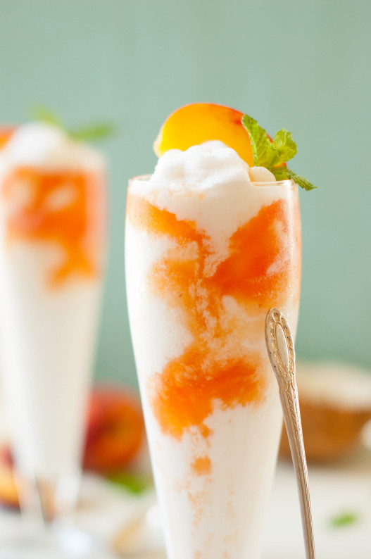 Coconut Peach Lemonade Slushies | thekitchenmccabe.com